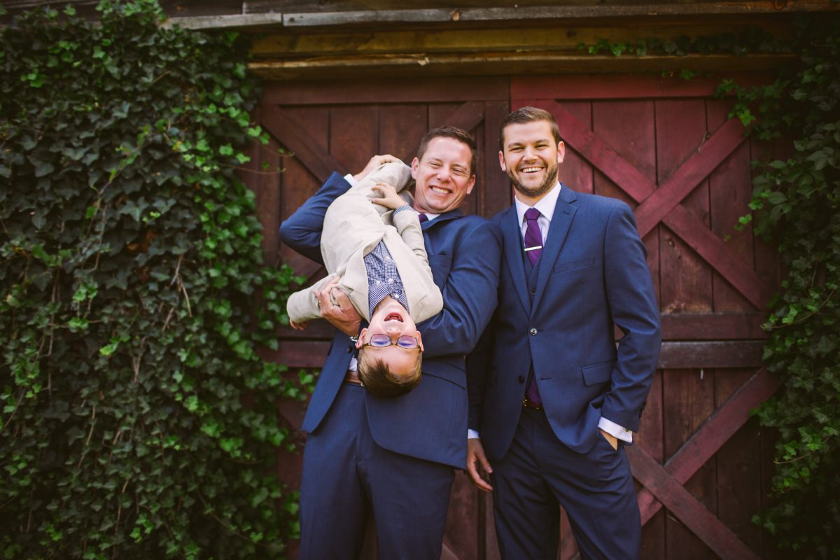 Goofy Groomsmen Portrait with Ring Bearer The Vineyards at Betty's Creek Sylva NC Wedding Photographers