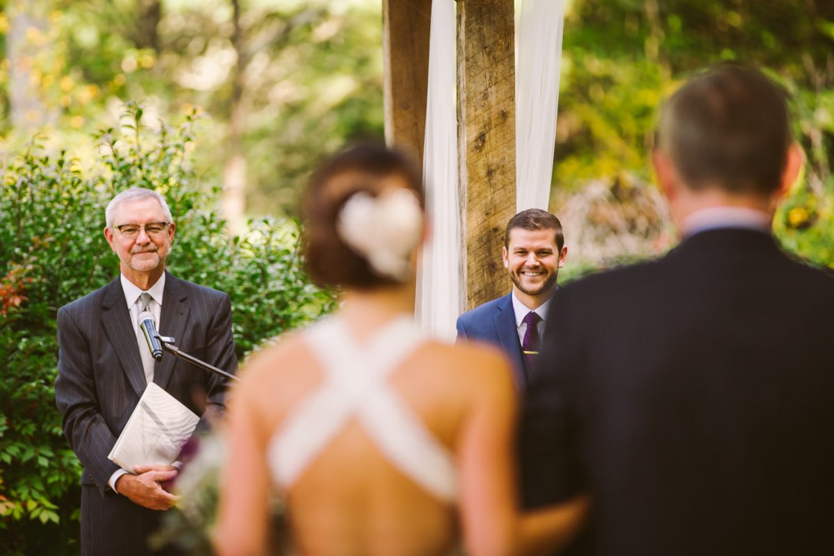 Ceremony Entrance Groom's Reaction The Vineyards at Betty's Creek Sylva NC Wedding Photographers
