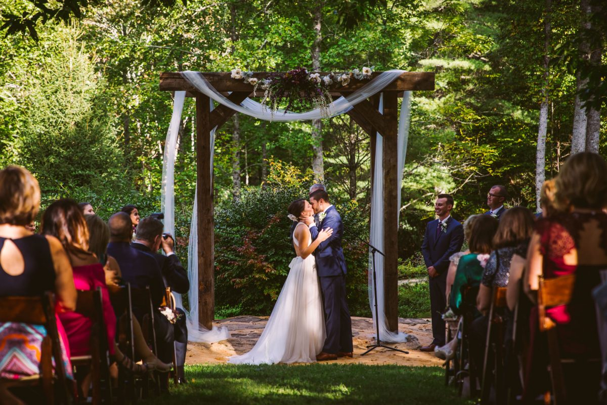 Ceremony Kiss The Vineyards at Betty's Creek Sylva NC Wedding Photographers