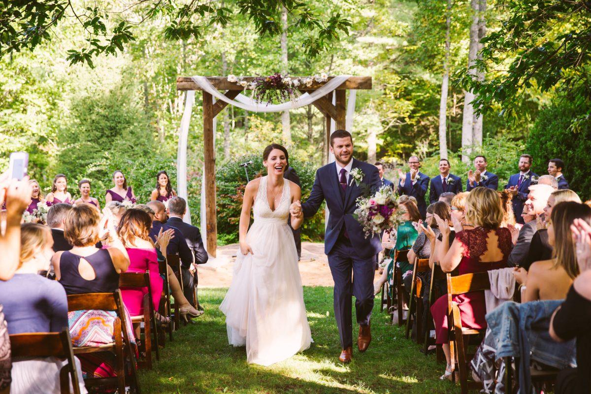 Ceremony Exit The Vineyards at Betty's Creek Sylva NC Wedding Photographers