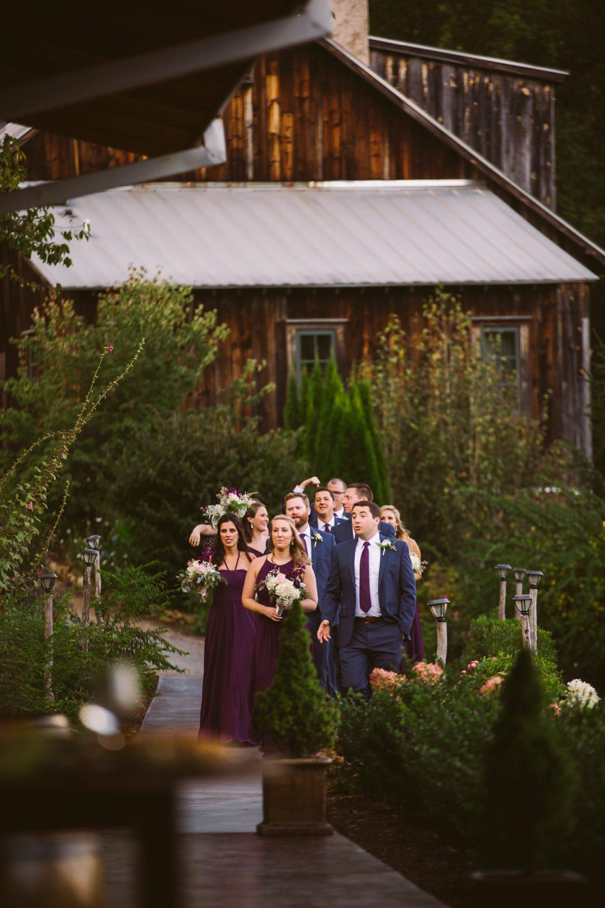 Bridal Party Entrance The Vineyards at Betty's Creek Sylva NC Wedding Photographers
