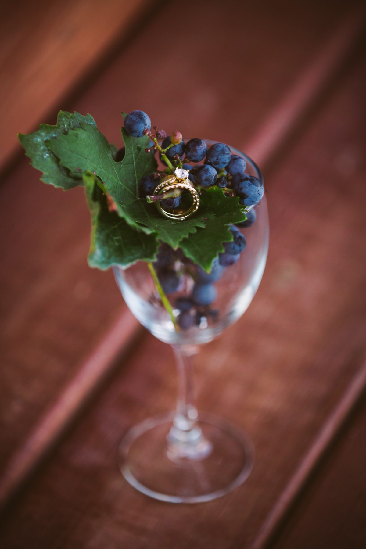 Rings in a Wine Glass The Vineyards at Betty's Creek Sylva NC Wedding Photographers