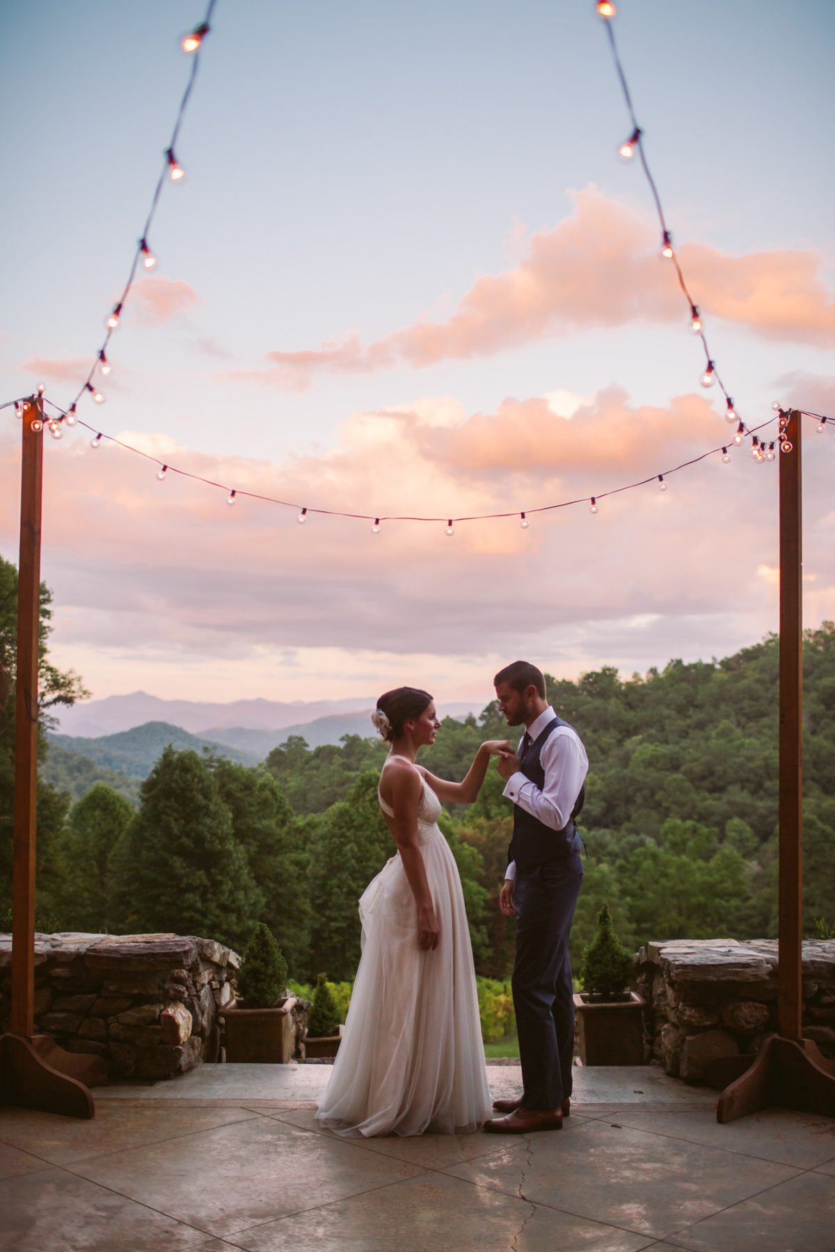 Sunset Portrait The Vineyards at Betty's Creek Sylva NC Wedding Photographers