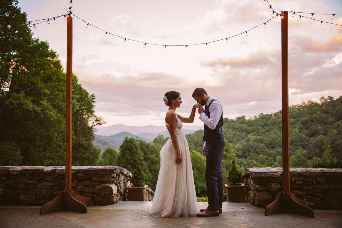 Sunset Portrait The Vineyards at Betty's Creek Sylva NC Wedding Photographers