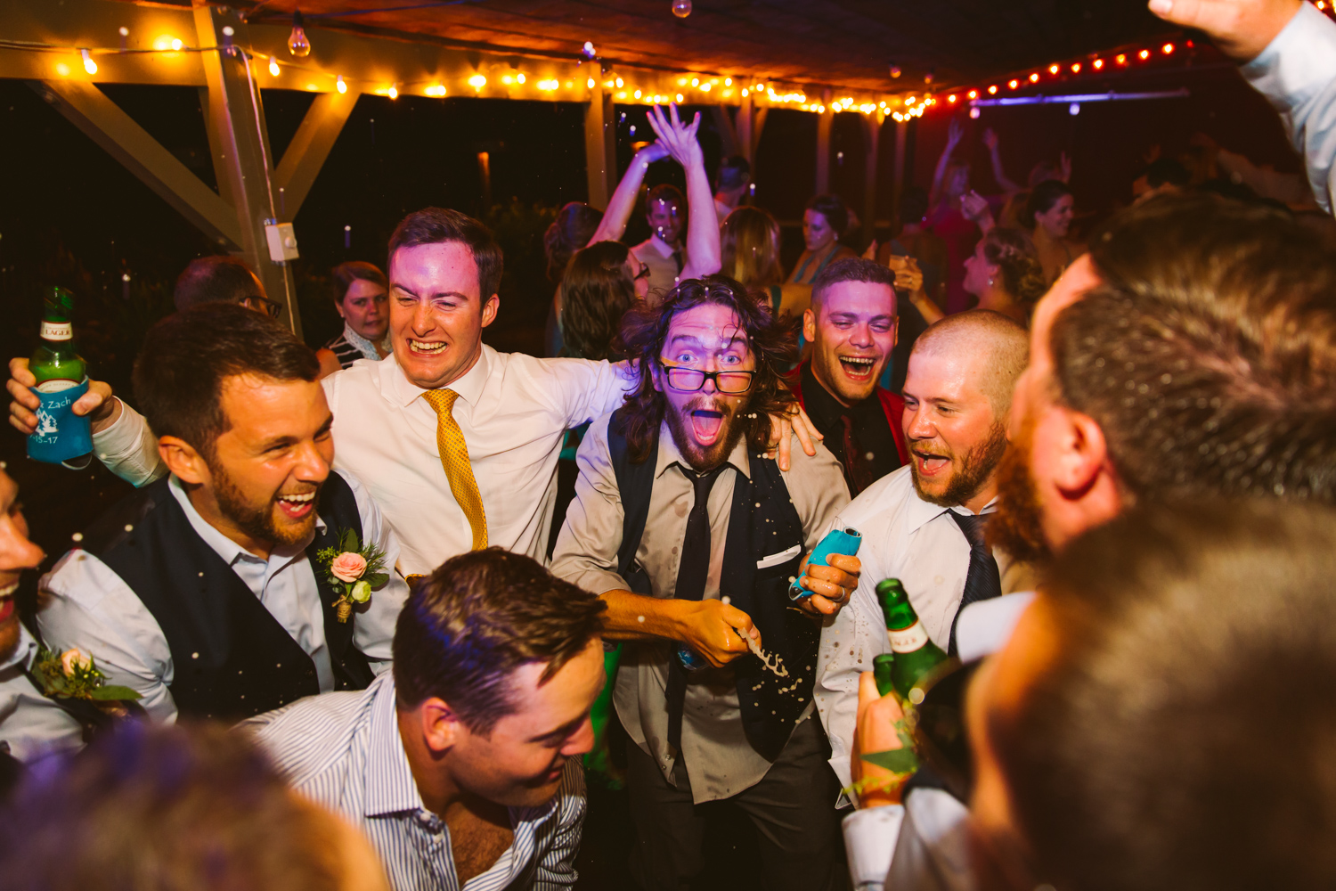Dance Floor Bottles Breaking Sawyer Family Farmstead Cashiers NC Wedding Photographers