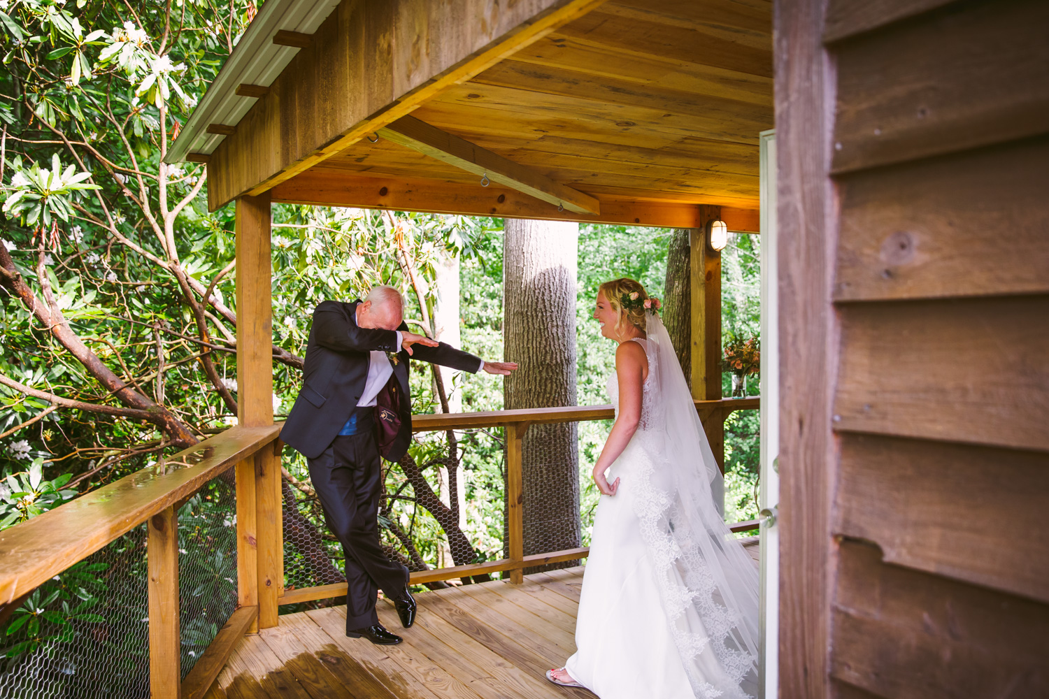 First Look with Dad Dabbing Sawyer Family Farmstead Cashiers NC Wedding Photographers