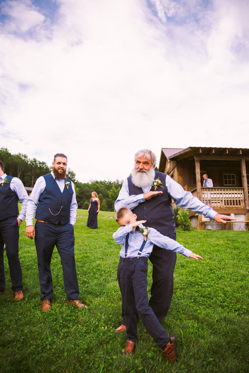Dabbing Sawyer Family Farmstead Cashiers NC Wedding Photographers