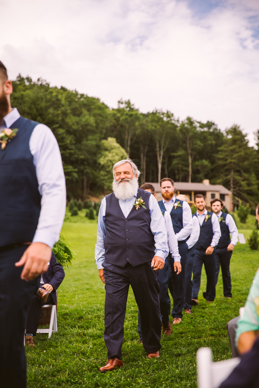 Ceremony Entrance Sawyer Family Farmstead Cashiers NC Wedding Photographers