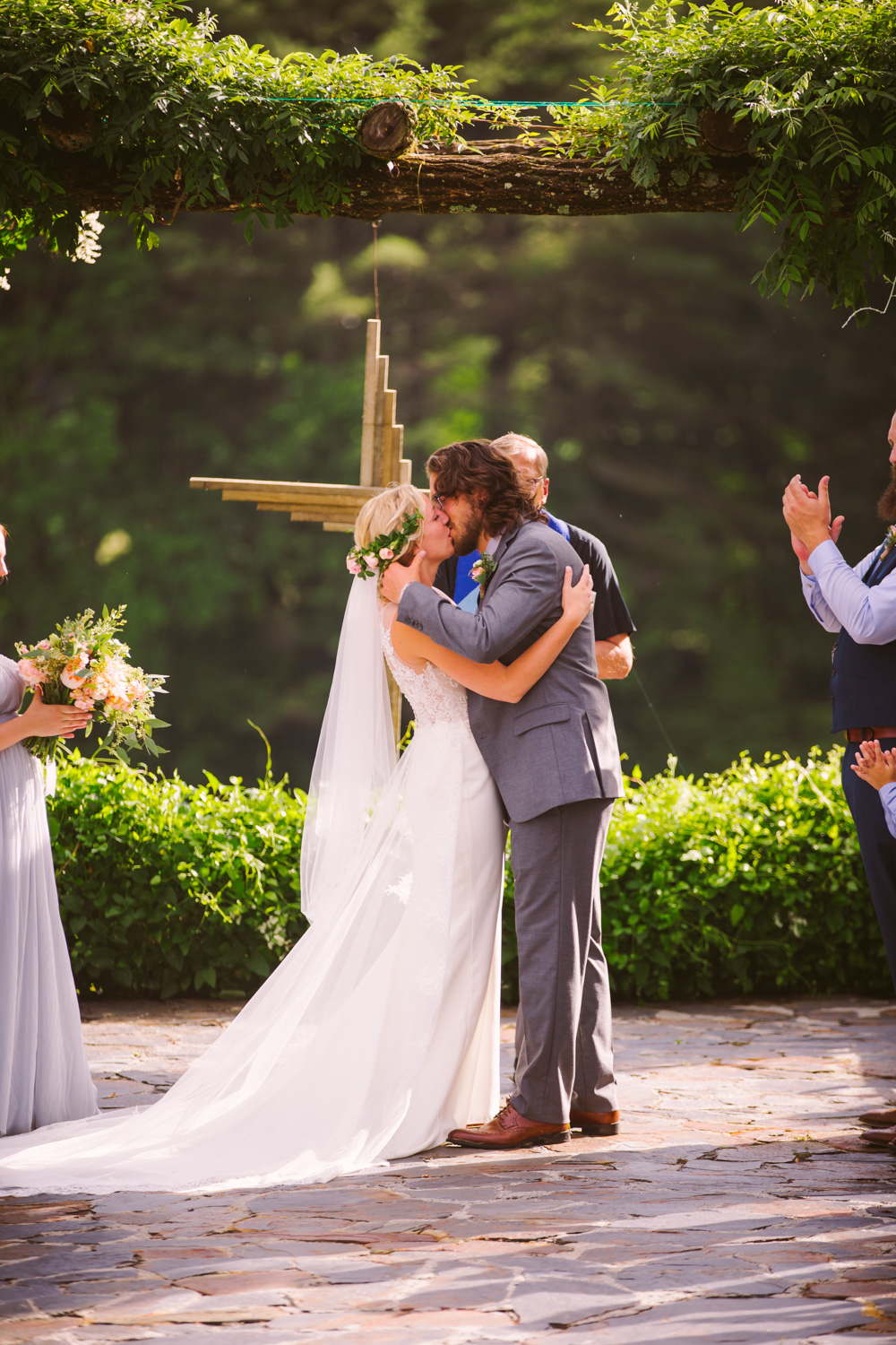 Ceremony Kiss Sawyer Family Farmstead Cashiers NC Wedding Photographers