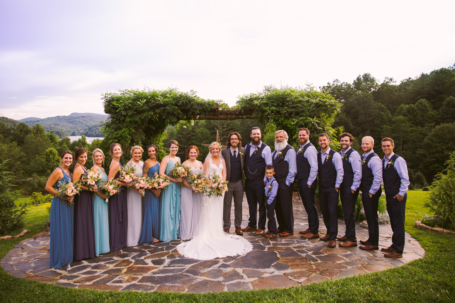 Bridal Party Portrait Sawyer Family Farmstead Cashiers NC Wedding Photographers