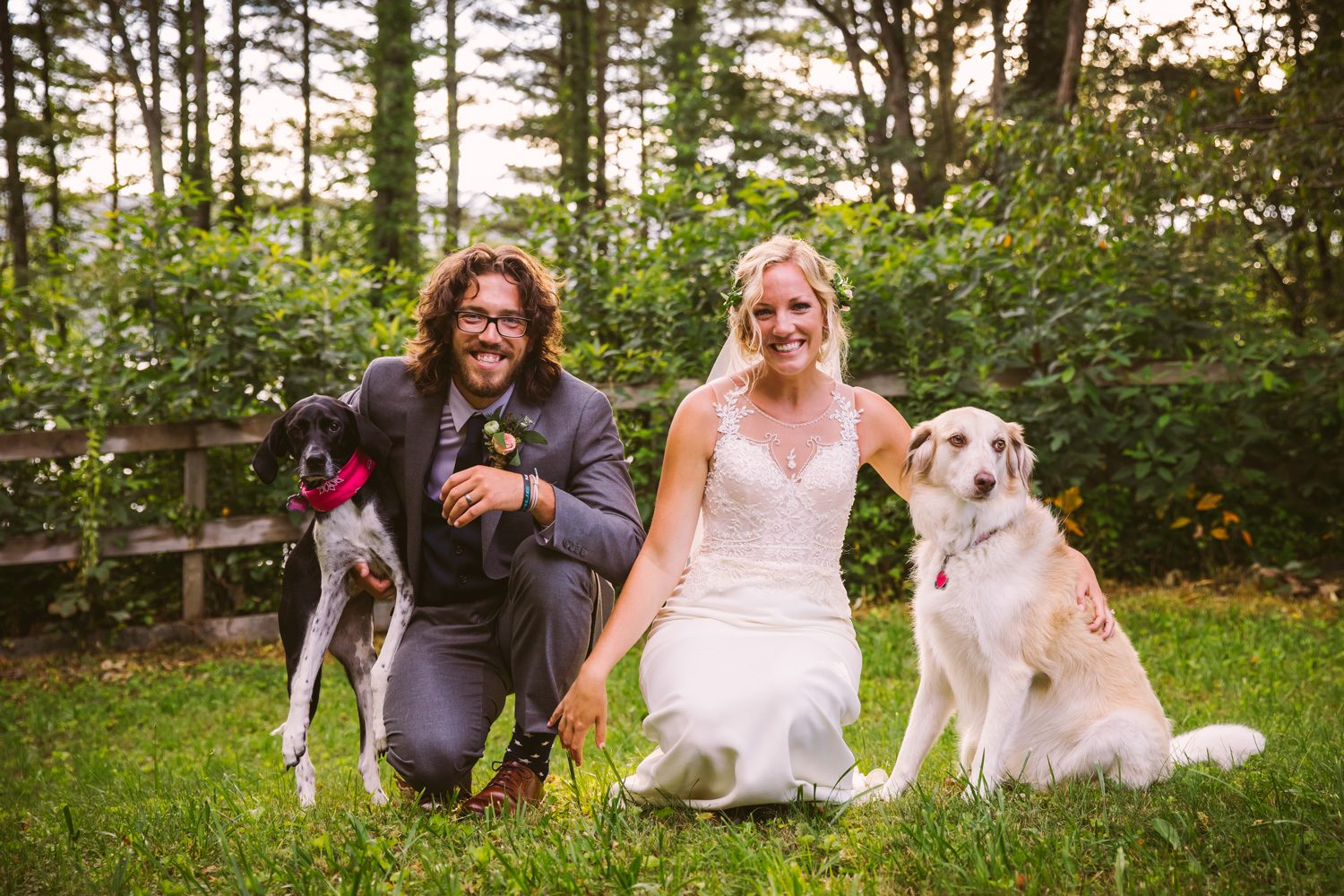 Bride and Groom with Dogs Sawyer Family Farmstead Cashiers NC Wedding Photographers