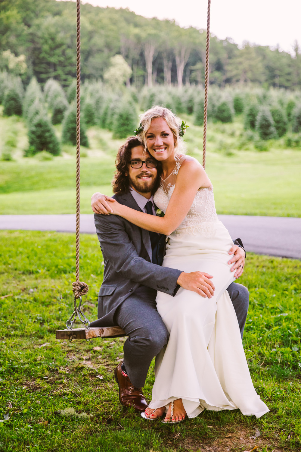 Couples Portrait Swing Sawyer Family Farmstead Cashiers NC Wedding Photographers