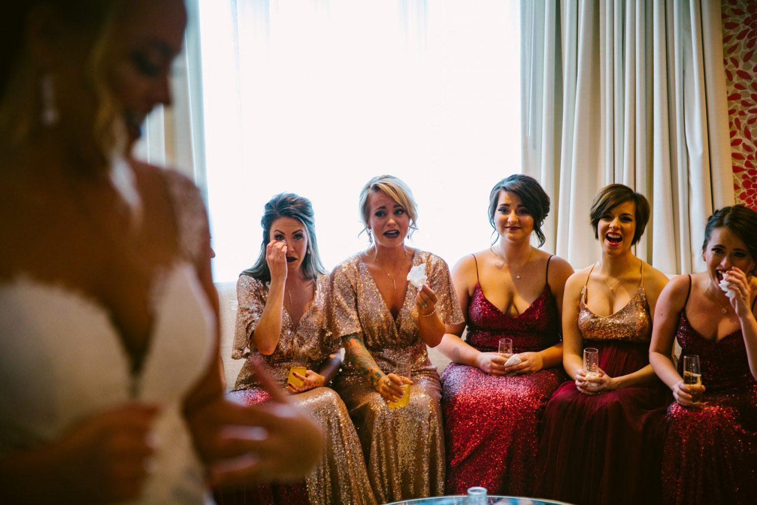 Wedding Bridal First Look with Bridesmaids Asheville NC Wedding Photography