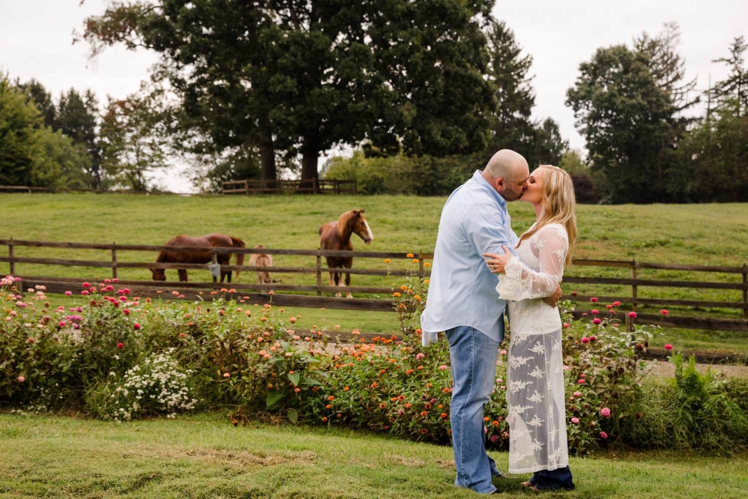 Engagement Session Garden with Horses The Farm - A Gathering Place Candler NC Wedding Photography