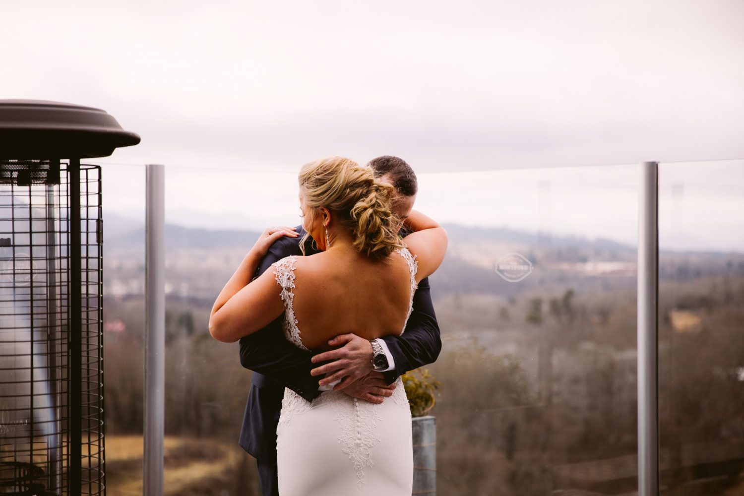 Wedding First Look Montford Rooftop Bar Asheville NC Wedding Photography