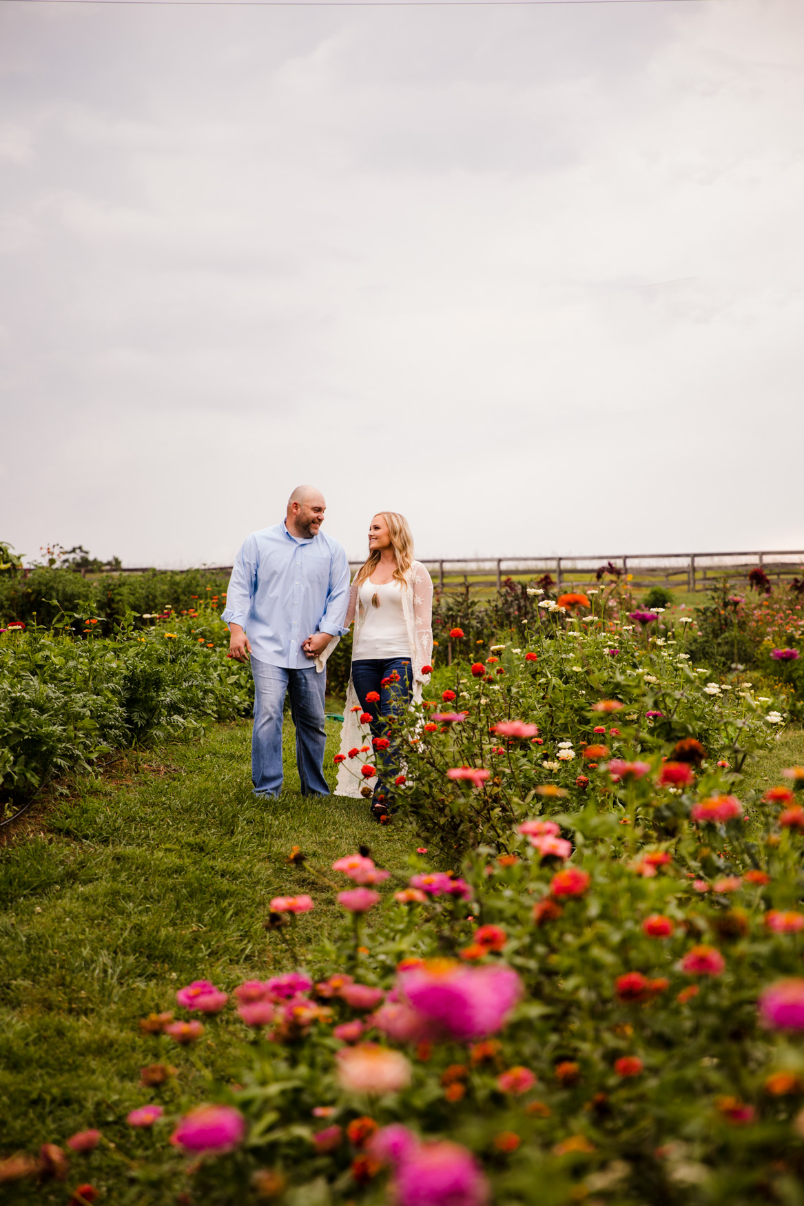 Engagement Session Walking through Garden The Farm - A Gathering Place Candler NC Wedding Photography