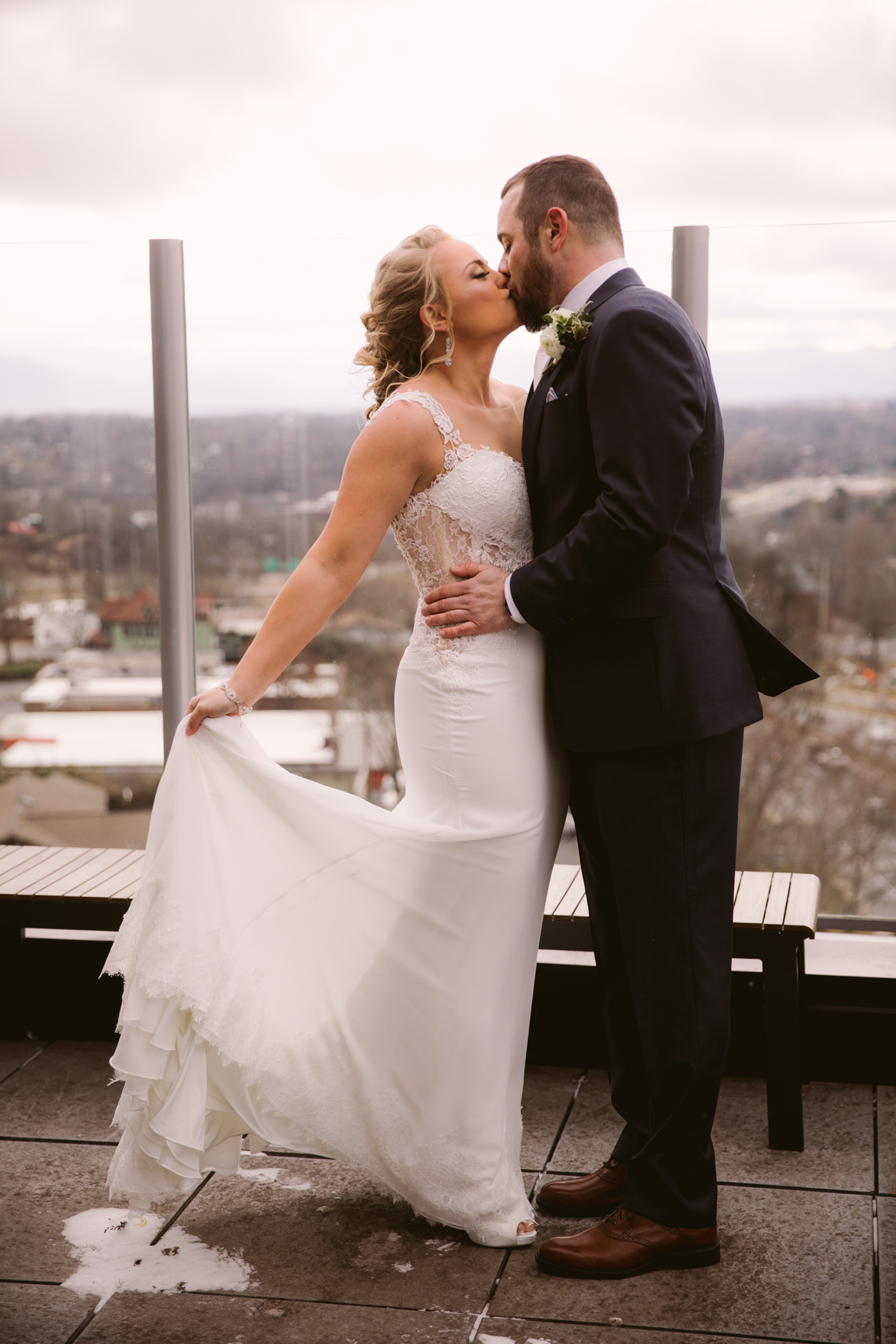 Wedding Couples Portrait Montford Rooftop Bar Asheville NC Wedding Photography
