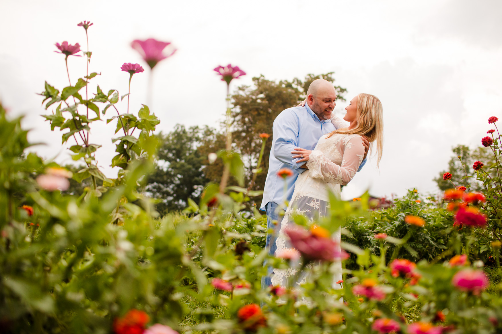 Engagement Portrait Session in the Garden The Farm - A Gathering Place Candler NC Wedding Photography