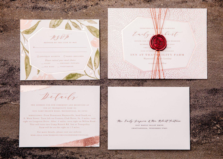 Wedding Invitation and RSVP Waynesville NC Wedding Photographers