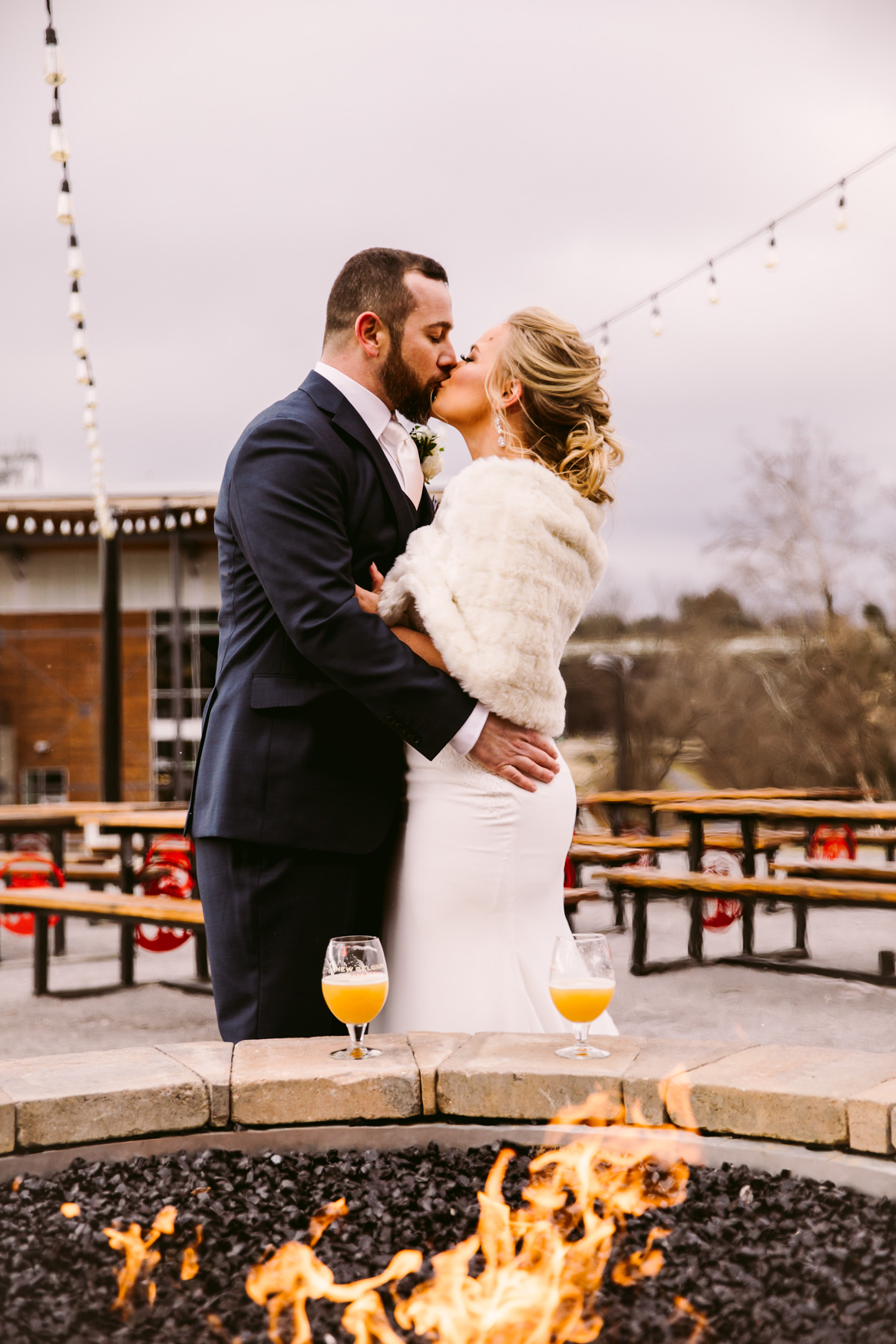 Wedding Couples Portrait at New Belgium Brewery Asheville NC Wedding Photography