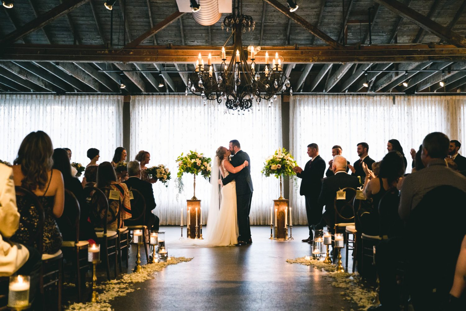 Wedding Ceremony Kiss at The Venue Asheville NC Wedding Photography