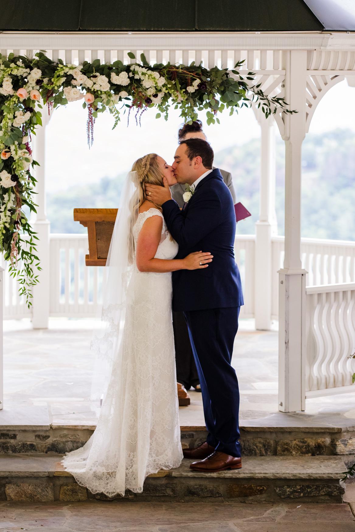 Wedding Ceremony Kiss Waynesville NC Wedding Photographers