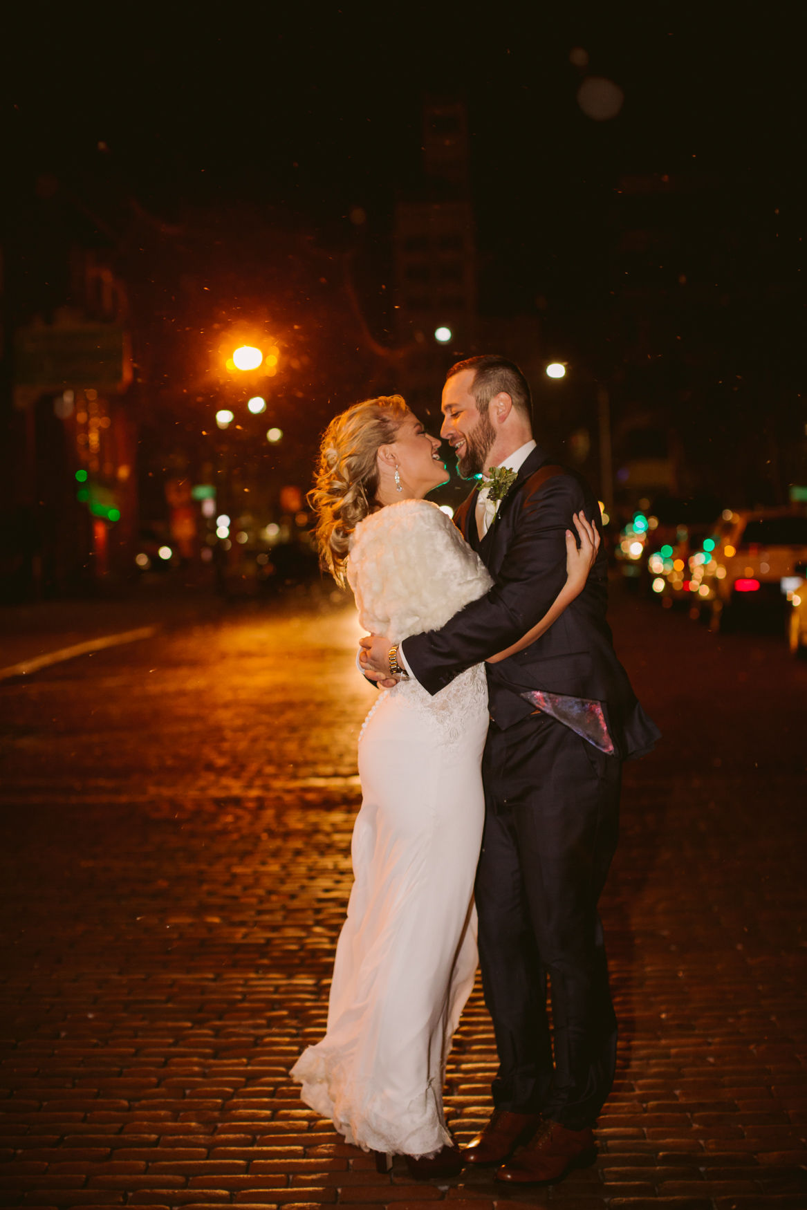 Wedding Downtown Couples Portrait in the Snow Asheville NC Wedding Photography