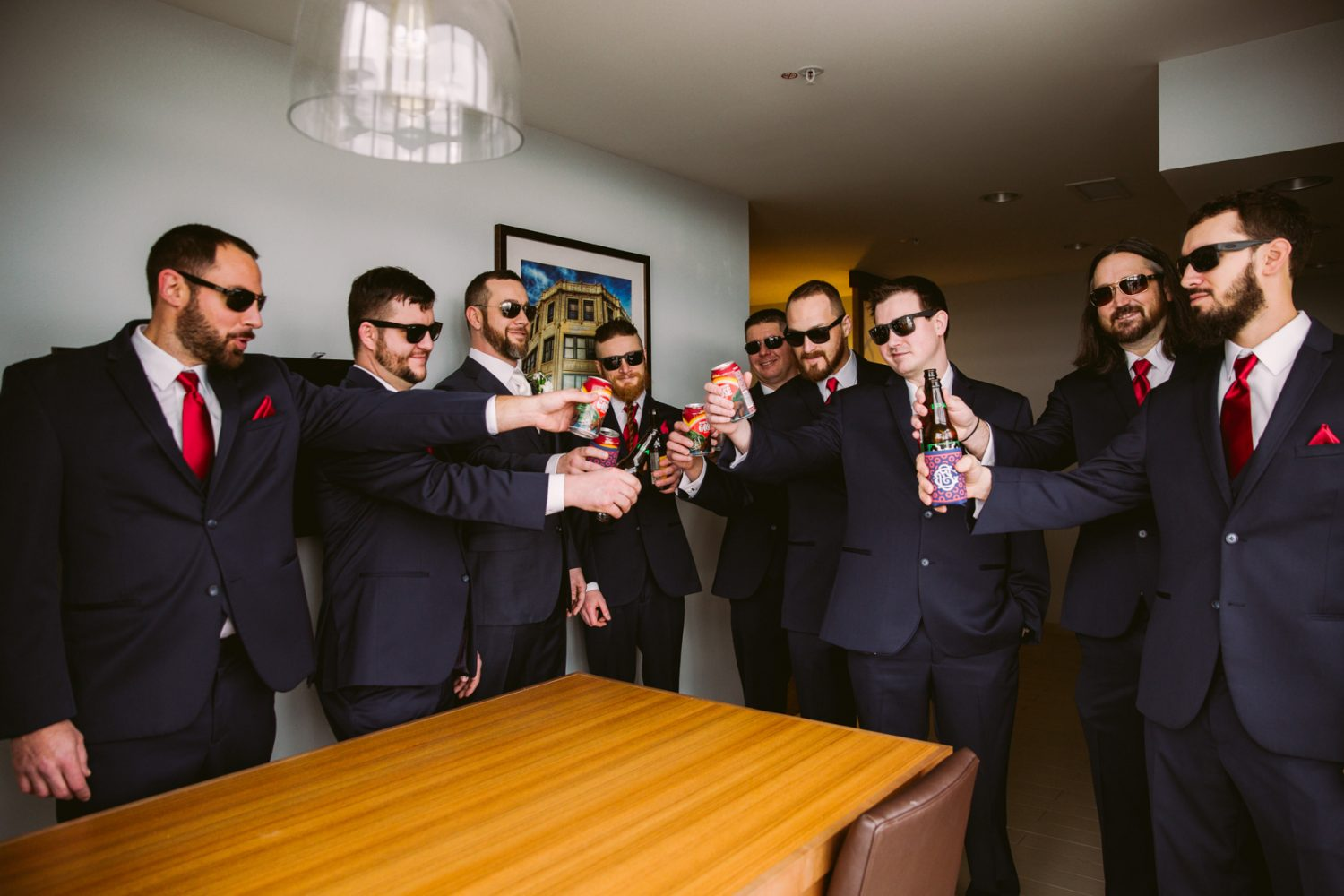 Wedding Groomsmen Cheers Portrait Asheville NC Wedding Photography