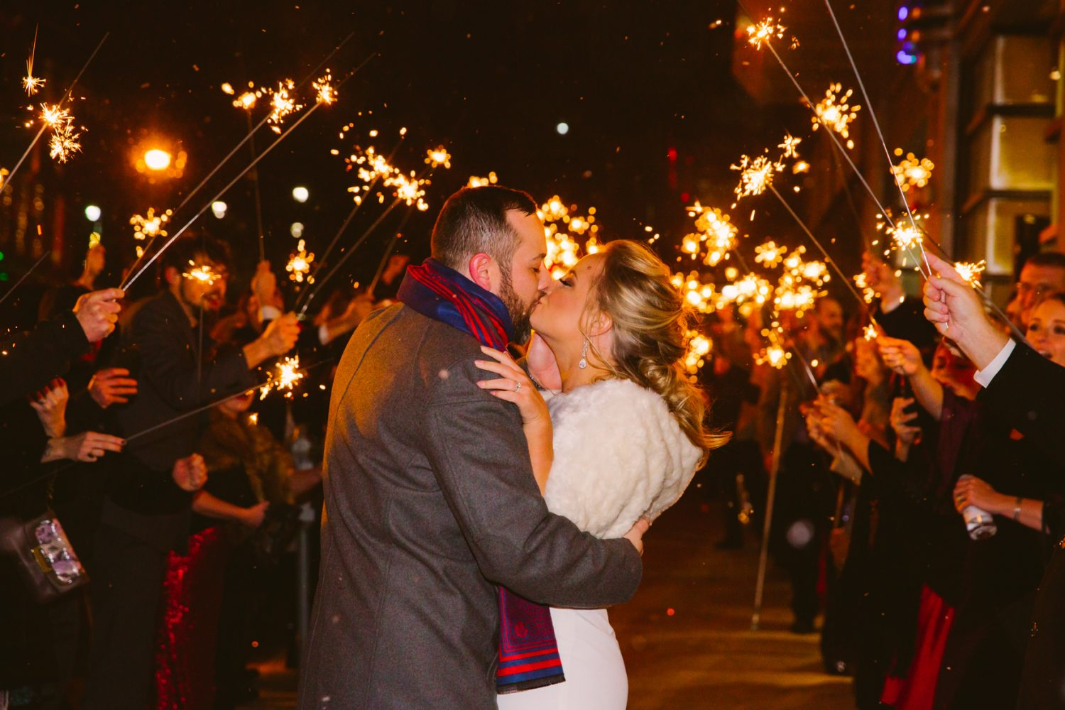 Wedding Sparkler Exit Downtown Asheville NC Wedding Photography