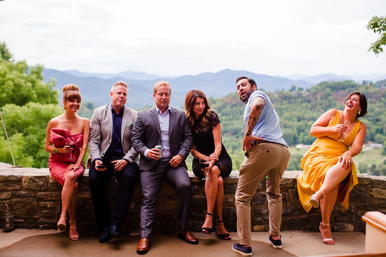 Wedding Guests Celebrating Waynesville NC Wedding Photographers