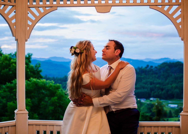 Wedding Sunset Portrait Waynesville NC Wedding Photographers