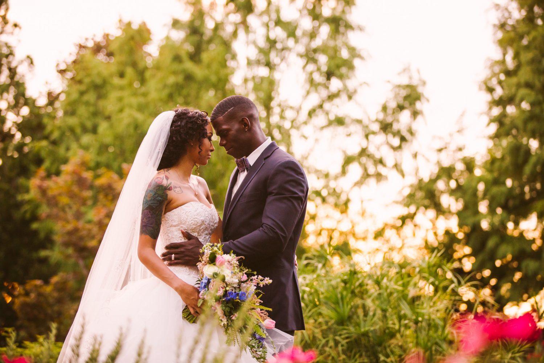 Waynesville Wedding Photography | Bride and Groom Garden Sunset Portrait