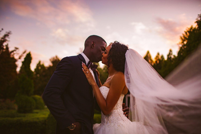 Waynesville Wedding Photography | Sunset Portrait Veil