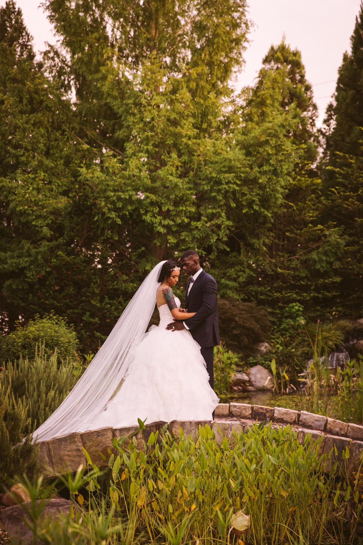Waynesville Wedding Photography | Couple's portrait Koi Pond Bridge