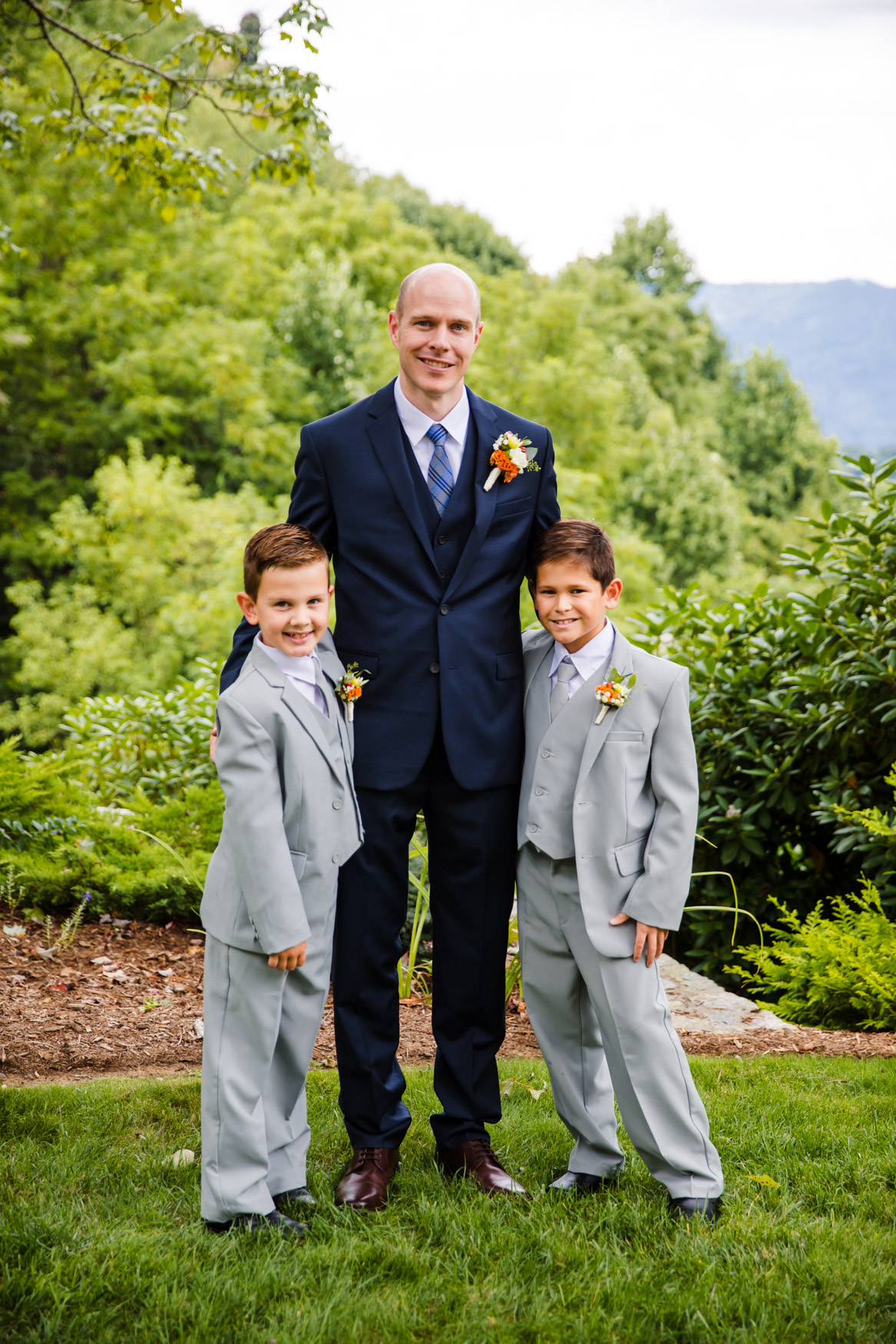 Groom and Ring Bearers Waynesville NC Wedding Photography Inn at Tranquility Farm