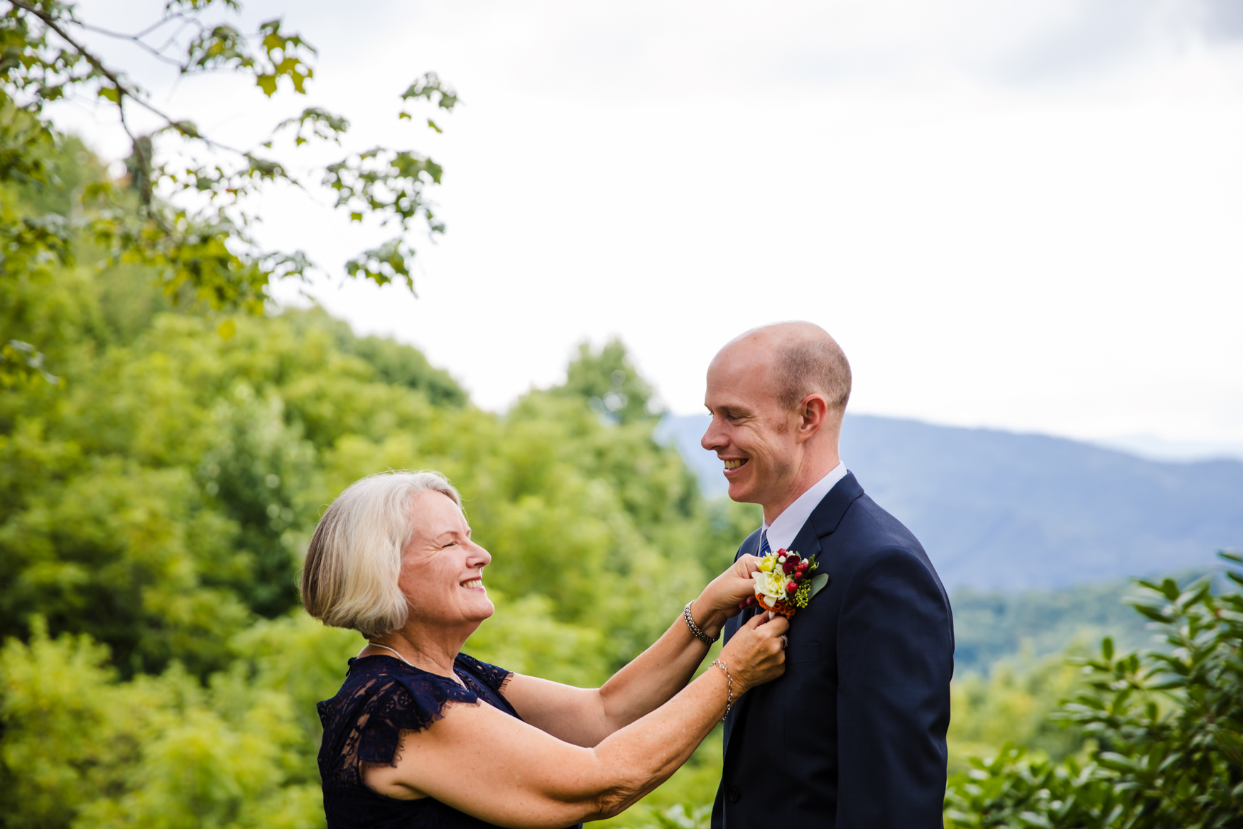 Boutonniere Pinning Waynesville NC Wedding Photography Inn at Tranquility Farm