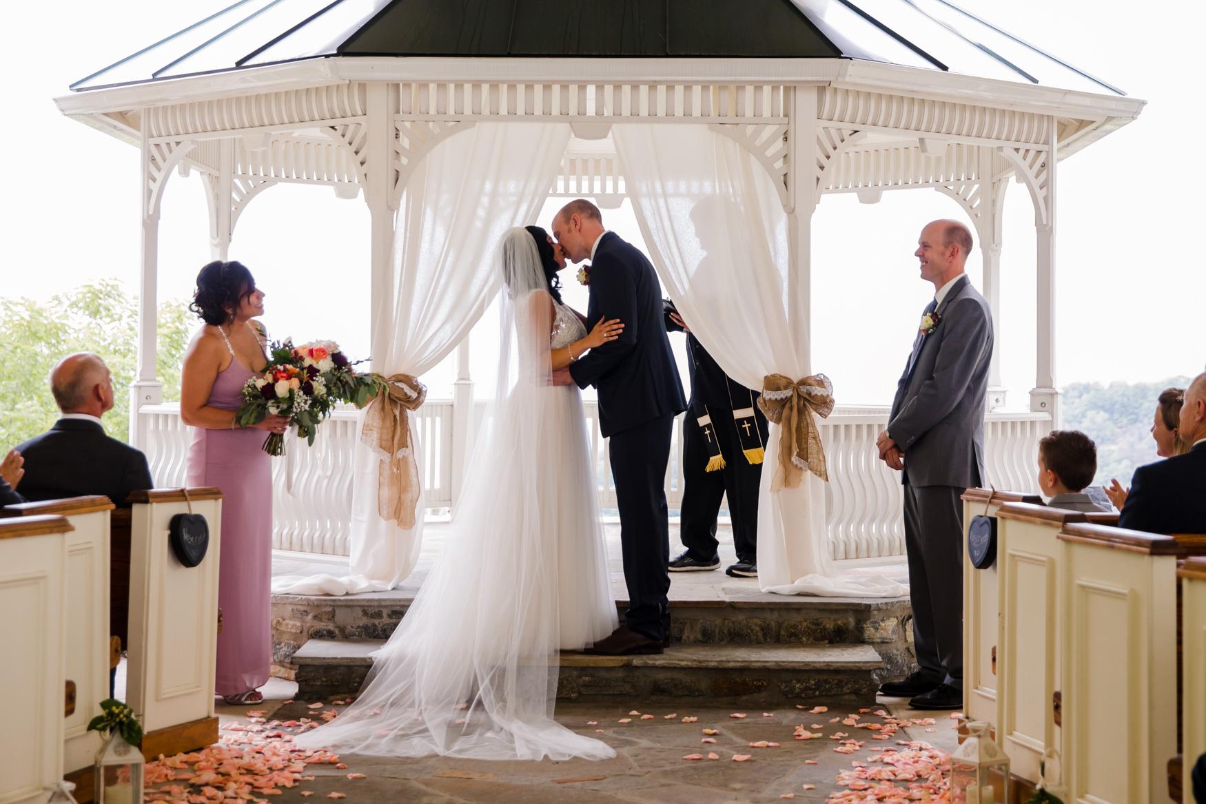 Wedding Ceremony Kiss Waynesville NC Wedding Photography Inn at Tranquility Farm