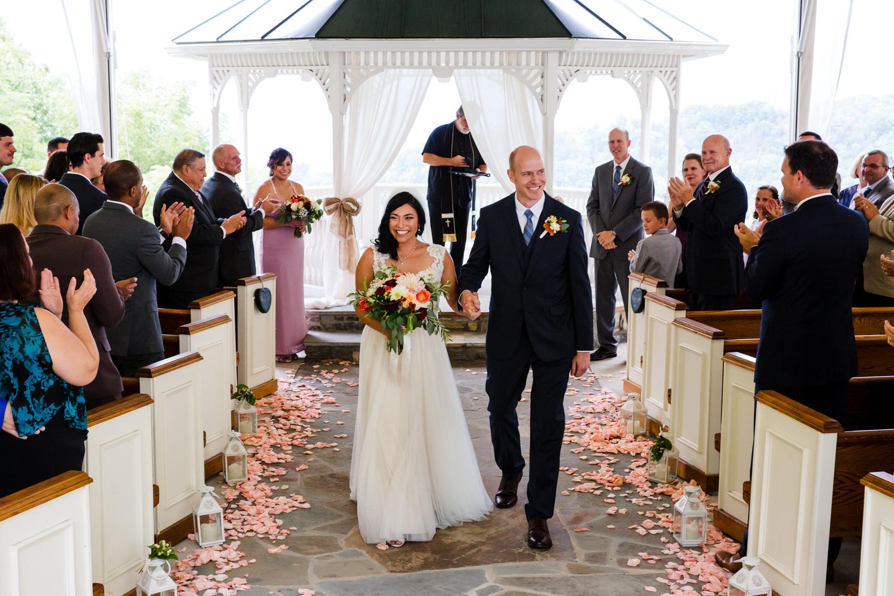 Wedding Ceremony Exit Waynesville NC Wedding Photography Inn at Tranquility Farm