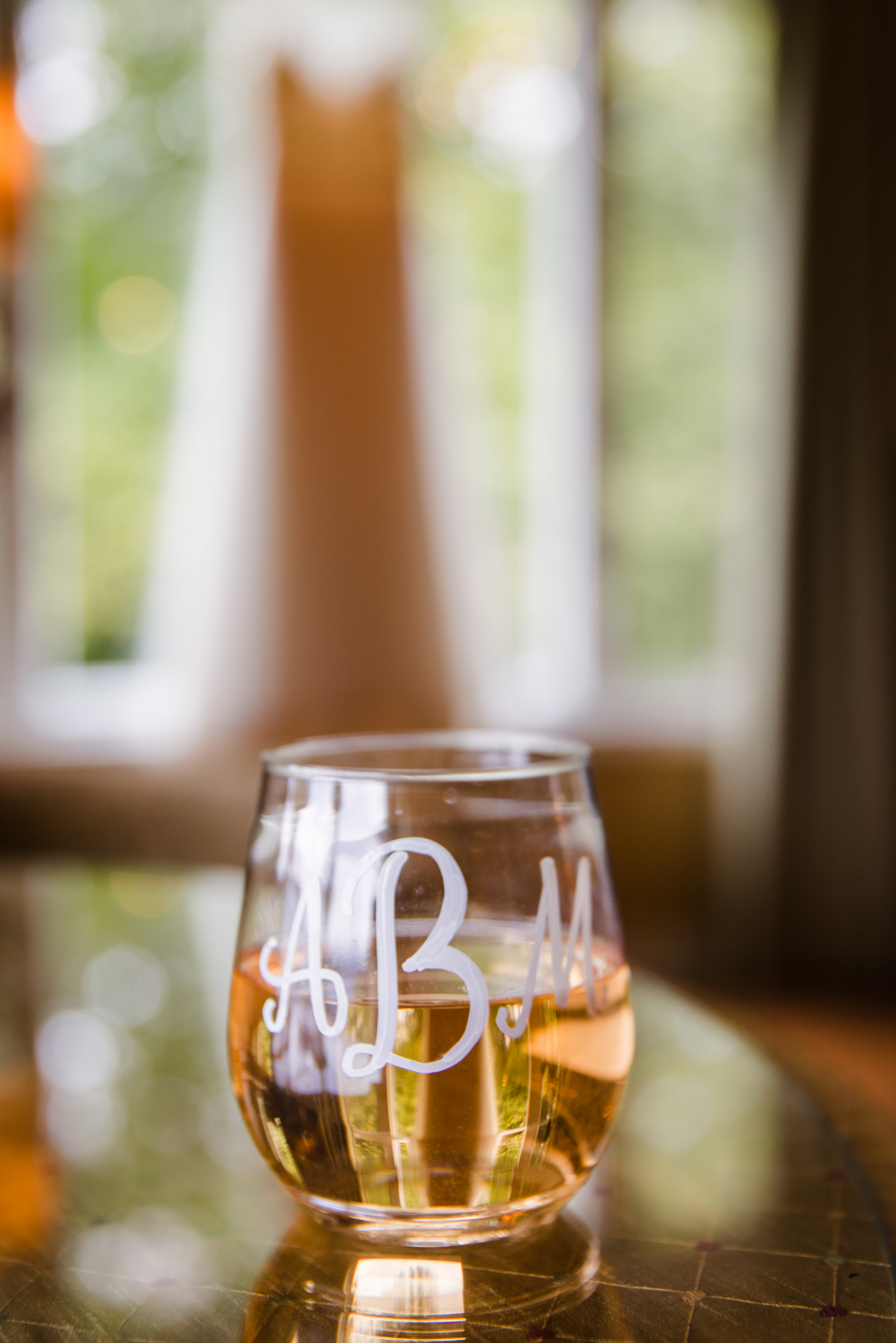 Bridal Detail Monogrammed Stemless Wine Glass Waynesville NC Wedding Photography Inn at Tranquility Farm
