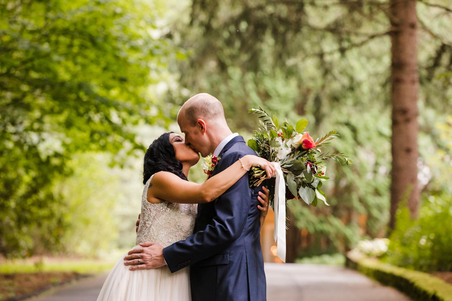 Sunset Portrait Kissing Waynesville NC Wedding Photography Inn at Tranquility Farm