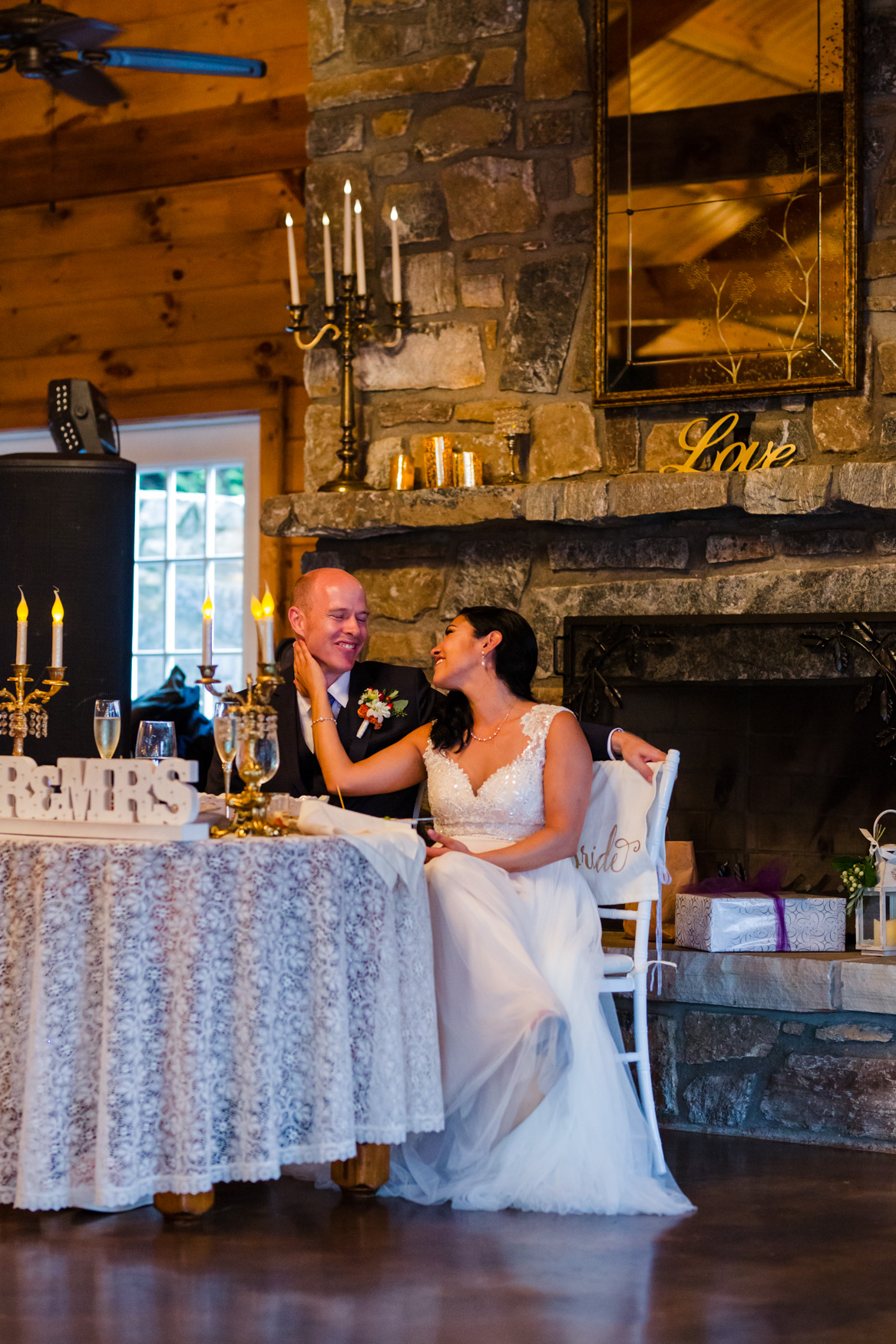 Bride Adoring Groom Reception Waynesville NC Wedding Photography Inn at Tranquility Farm