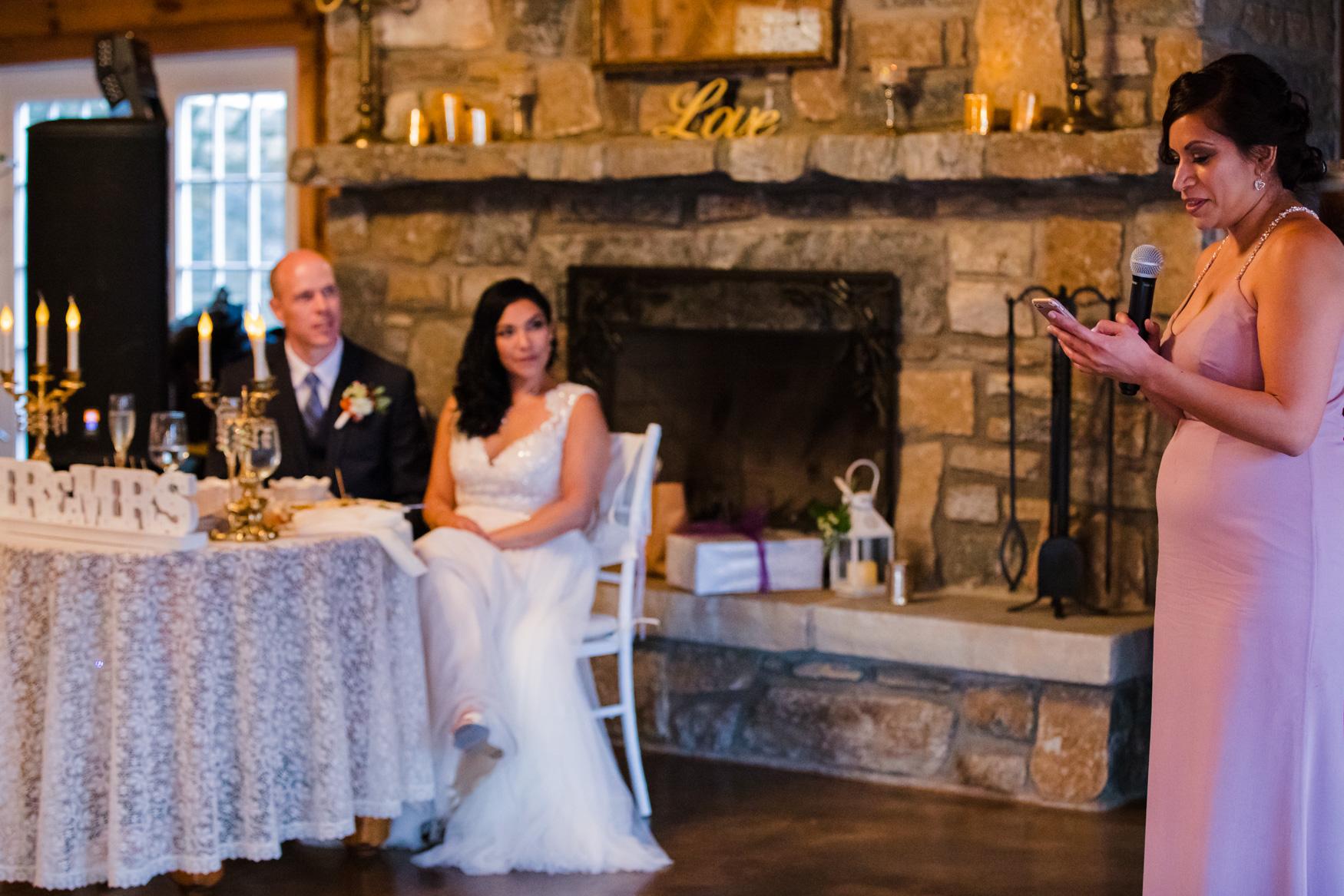 Reception Speech Waynesville NC Wedding Photography Inn at Tranquility Farm