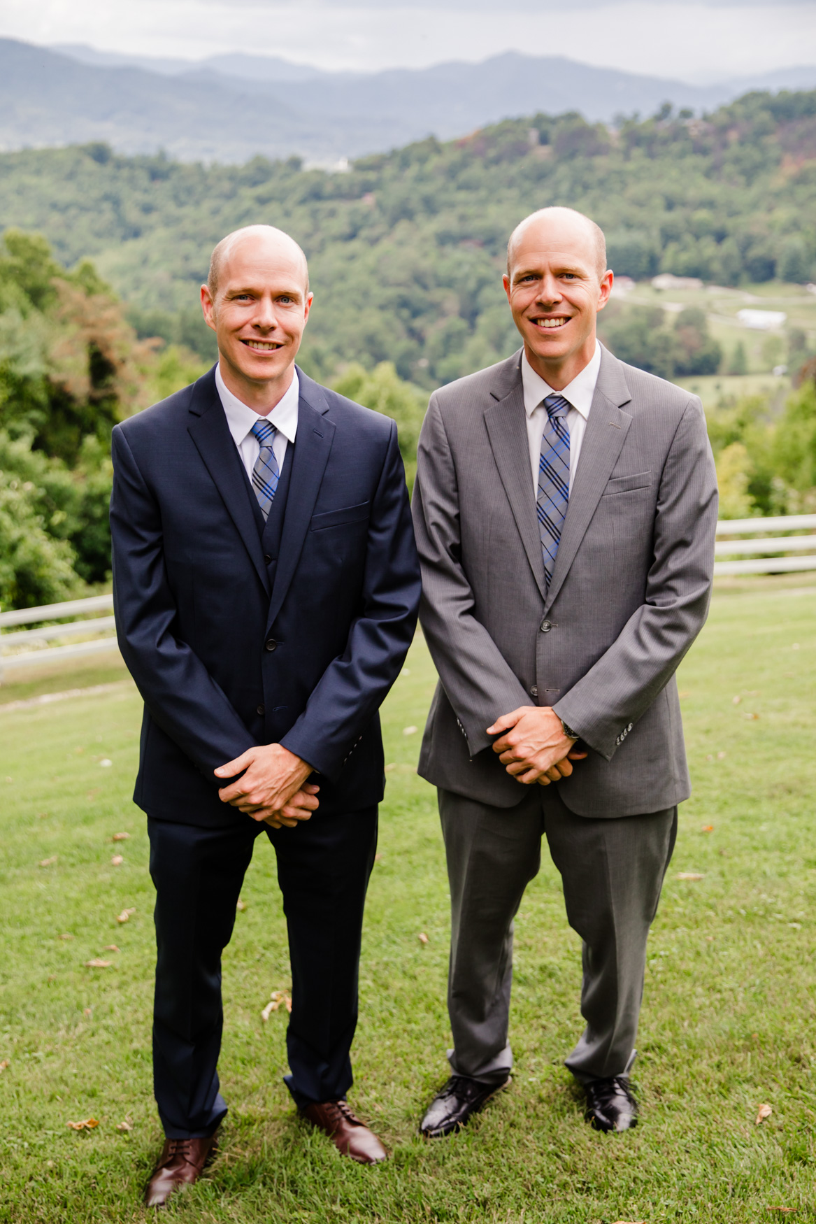 Groom and Twin Brother Portrait Waynesville NC Wedding Photography Inn at Tranquility Farm