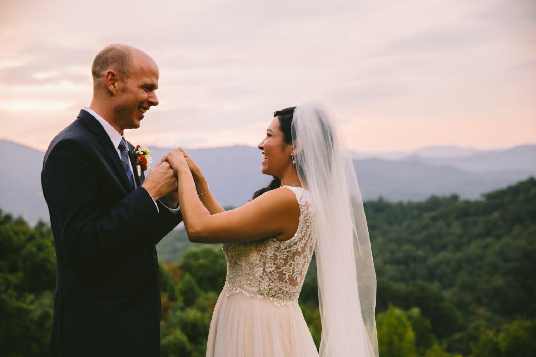 Couple's Sunset Portrait Waynesville NC Wedding Photography