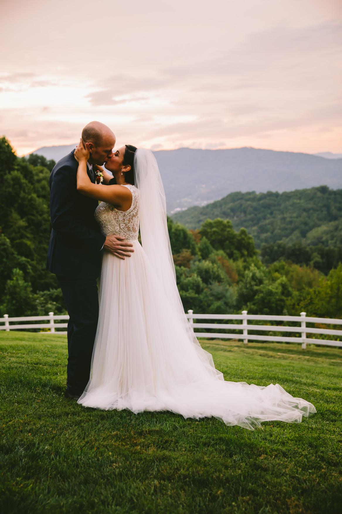Couple Kissing Sunset Portrait Waynesville NC Wedding Photography