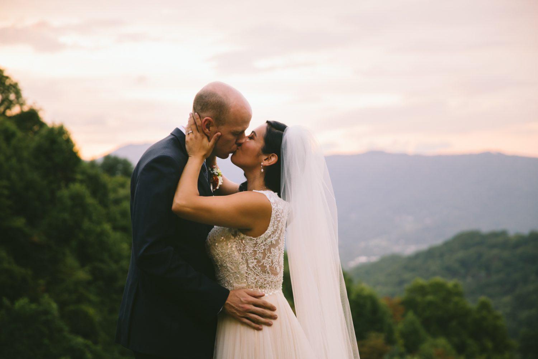 Kissing Sunset Portrait Waynesville NC Wedding Photography