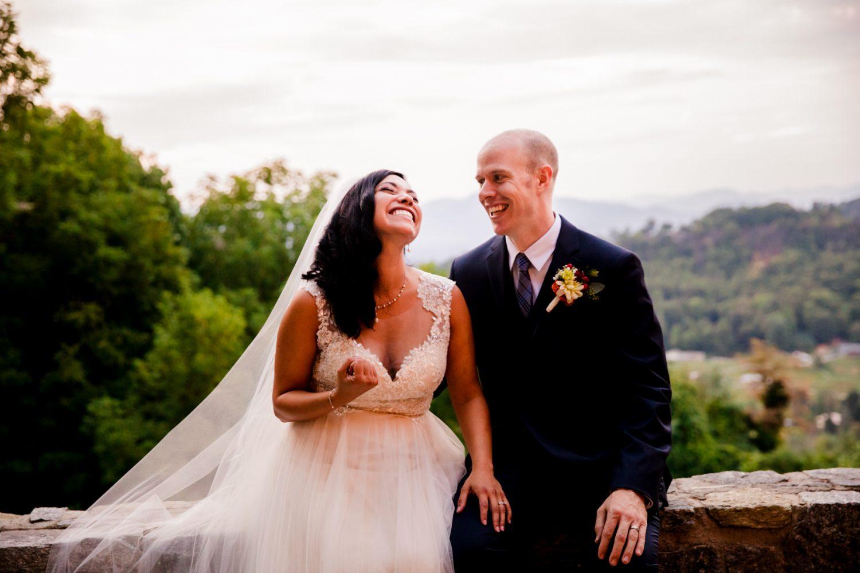 Funny Couple's Sunset Portrait Waynesville NC Wedding Photography