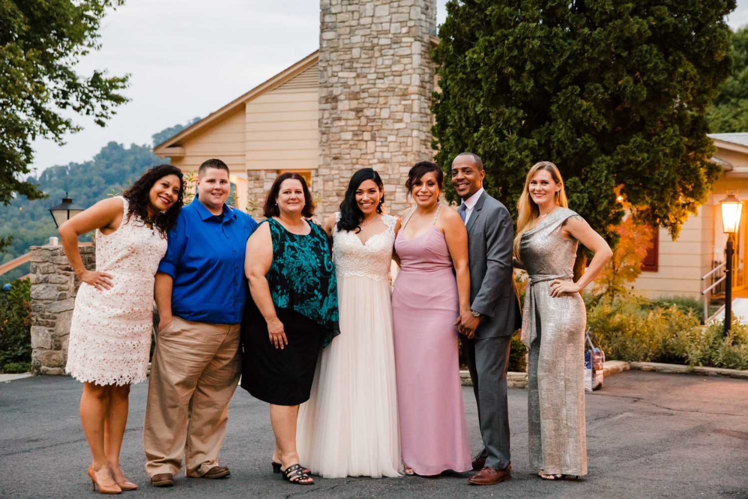 Bride with Friends Portrait Waynesville NC Wedding Photography