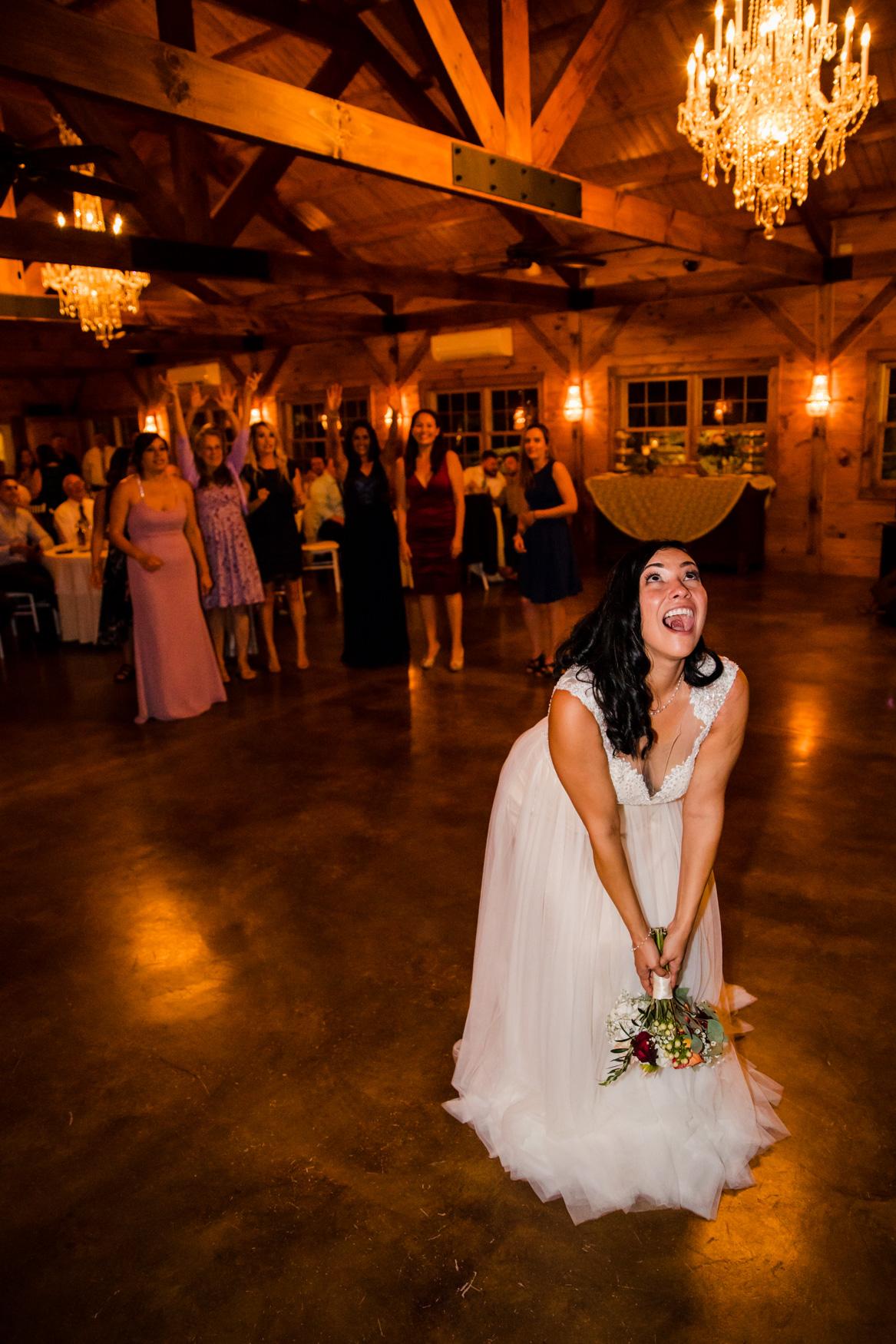 Bouquet Toss Waynesville NC Wedding Photography Inn at Tranquility Farm