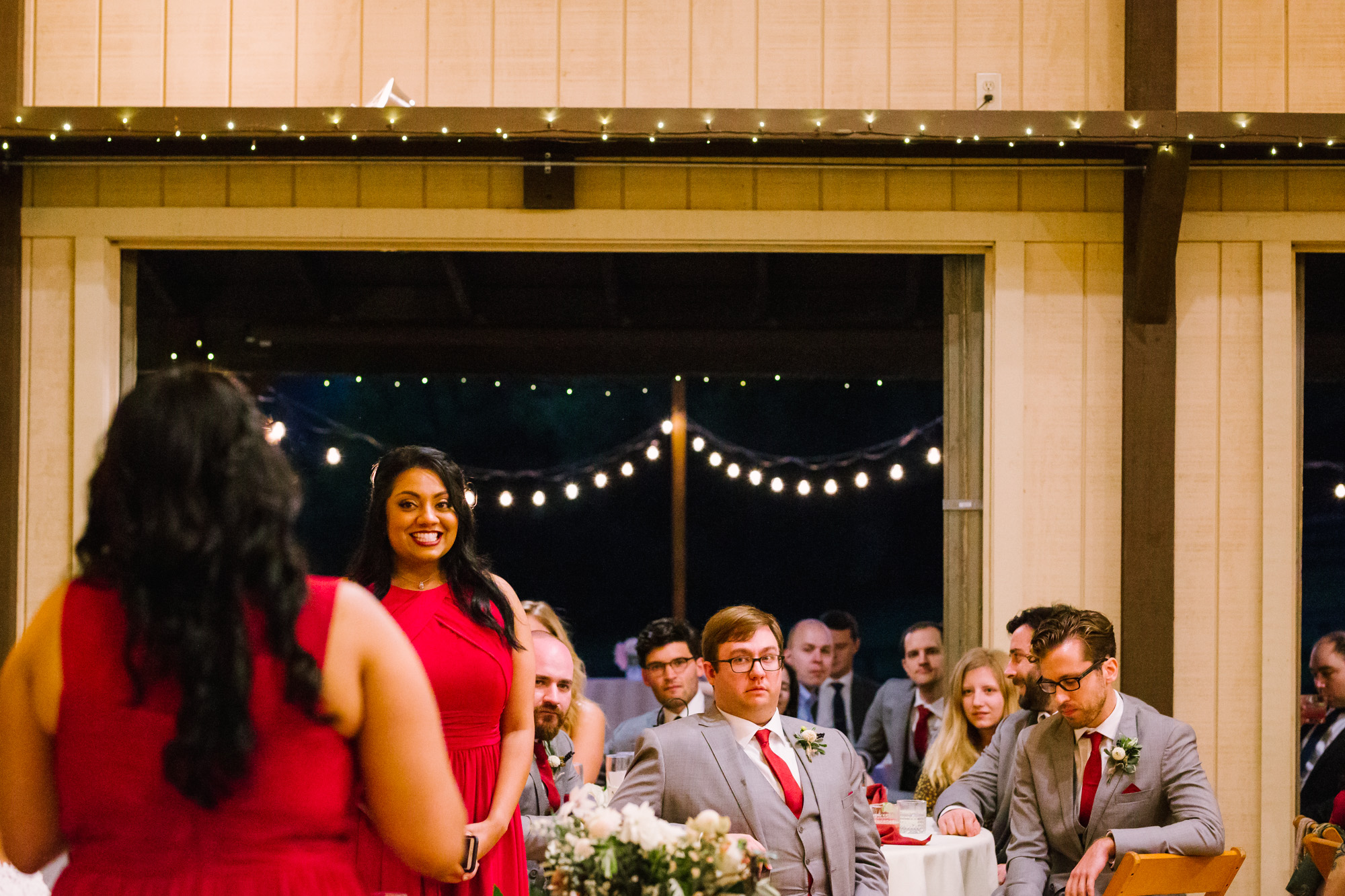 Waynesville NC Wedding Photography | Reception Speeches and Smiling